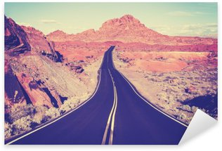 Vintage toned curved desert highway, travel concept, USA Sticker - Pixerstick