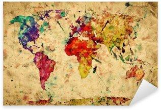 Pixerstick Sticker Vintage wereldkaart. Kleurrijke verf, aquarel op papier grunge