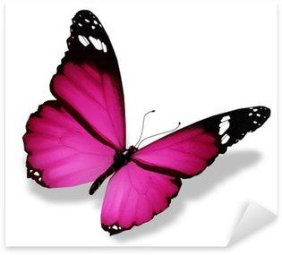 Sticker Pixerstick Violet papillon, isolé sur blanc