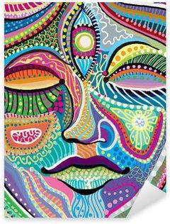 Sticker Pixerstick Visage de femme avec motif abstrait multicolore indien