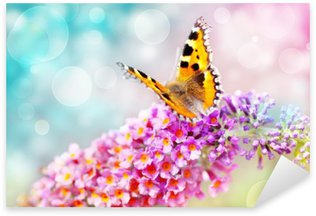 Pixerstick Sticker Vlinder op bloem