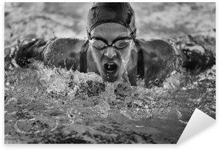 Pixerstick Sticker Vlinderslag zwemkampioen