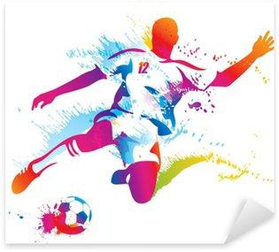 Pixerstick Sticker Voetballer schopt de bal. De kleurrijke vectorillustratie
