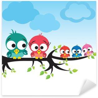 Pixerstick Sticker Vogels op boom