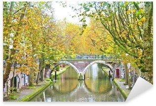 Sticker Pixerstick Voir au canal historique à Utrecht, Pays-Bas