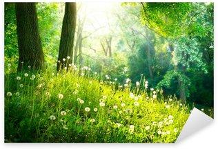 Pixerstick Sticker Voorjaar Nature. Mooi Landschap. Groen gras en bomen