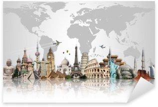 Sticker Pixerstick Voyage dans le concept de monde monuments
