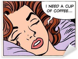 Pixerstick Sticker Vrouw droomt 's ochtends koffie beker