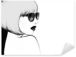 Pixerstick Sticker Vrouw met een bril. waterverfillustratie