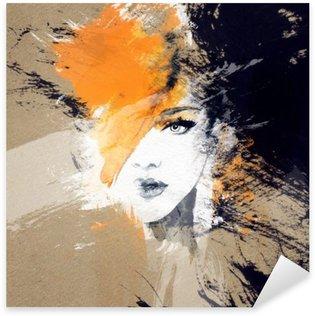 Pixerstick Sticker Vrouw portret .abstract aquarel Mode-achtergrond