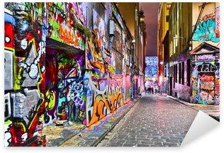 Sticker Pixerstick Vue d'œuvres d'art graffitis colorés à Hosier Lane à Melbourne