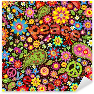 Wallpaper with hippie symbolic Sticker - Pixerstick