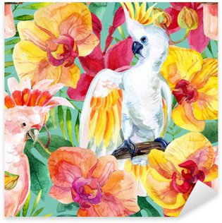 watercolor Australian Cockatoo seamless pattern Sticker - Pixerstick