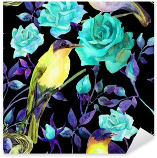 Watercolor birds on the blue roses Sticker - Pixerstick