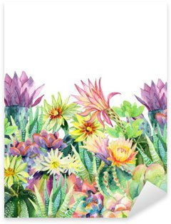 Watercolor blooming cactus background Sticker - Pixerstick