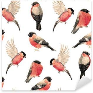 Sticker - Pixerstick Watercolor bullfinch bird pattern