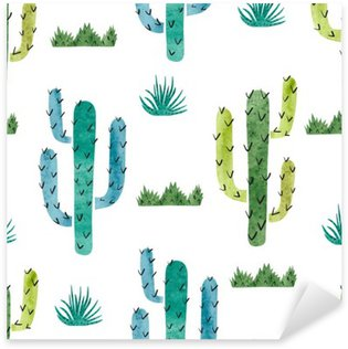 Sticker - Pixerstick Watercolor cactus seamless pattern. Vector background with green and blue cactus isolated on white.
