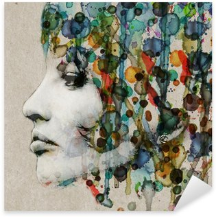 Watercolor female profile Sticker - Pixerstick