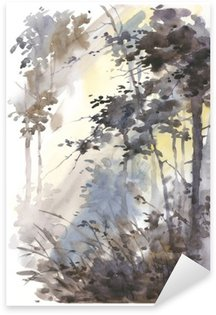 Sticker - Pixerstick Watercolor hand painted abstract landscape, deep forest, threes in sunshine.