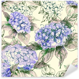 Pixerstick Sticker Watercolor Hortensia Naadloos Patroon