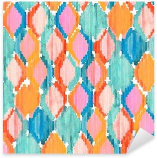 Pixerstick Sticker Watercolor ikat naadloos patroon. Levendige etnische ruitpatroon.