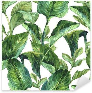 Pixerstick Sticker Watercolor Naadloze Achtergrond met Tropische Bladeren