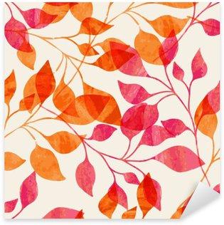 Pixerstick Sticker Watercolor naadloze patroon met roze en oranje herfstbladeren.