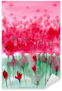 Watercolor painting. Background meadow with red flowers. Pixerstick Sticker