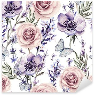 Sticker - Pixerstick Watercolor pattern with the colors of lavender, roses and anemone.