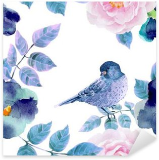 Watercolor seamless pattern with flowers and birds. Sticker - Pixerstick