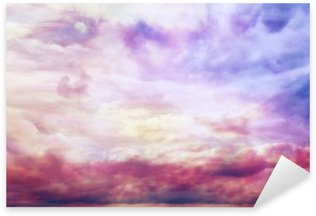 Sticker - Pixerstick watercolor sky texture, background pink clouds
