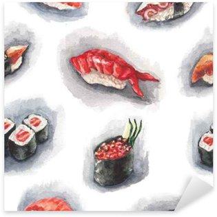 Watercolor sushi pattern