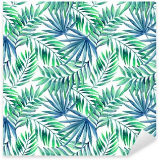 Sticker - Pixerstick Watercolor tropical leaves seamless pattern