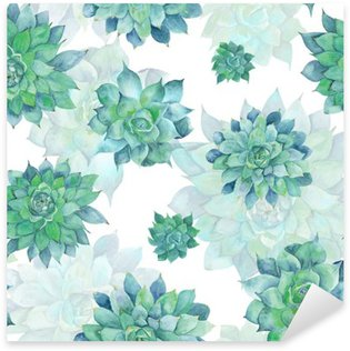 Pixerstick Sticker Watercolor Turquoise Succulent Patroon