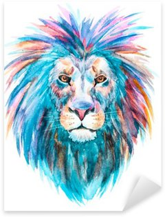 Watercolor vector lion Pixerstick Sticker