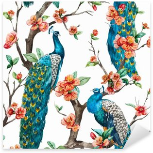 Watercolor vector peacock pattern Sticker - Pixerstick