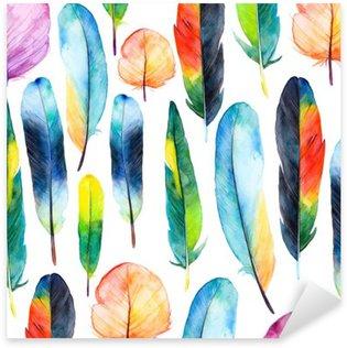 Pixerstick Sticker Watercolor veren set.Pattern met de hand getekende veren