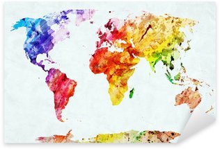 Watercolor world map Sticker - Pixerstick