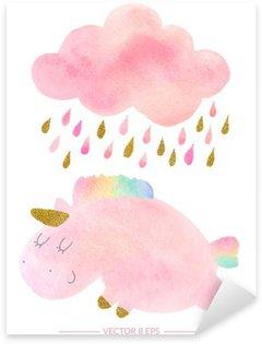 Pixerstick Sticker Watercoloureenhoorn en wolk met regen
