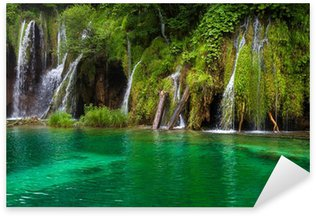 Waterfall and lake at Plitvice Lakes, Croatia. Sticker - Pixerstick