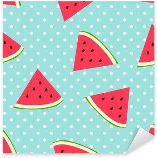 Watermelon seamless pattern with polka dots Pixerstick Sticker