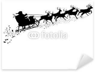 Weihnachtsmann mit Rentierschlitten - Silhouette Sticker - Pixerstick