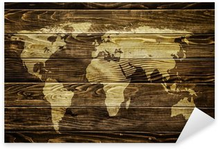 Pixerstick Sticker Wereldkaart op houten achtergrond