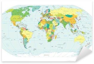Pixerstick Sticker Wereldkaart politieke grenzen