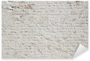 White grunge brick wall background Sticker - Pixerstick