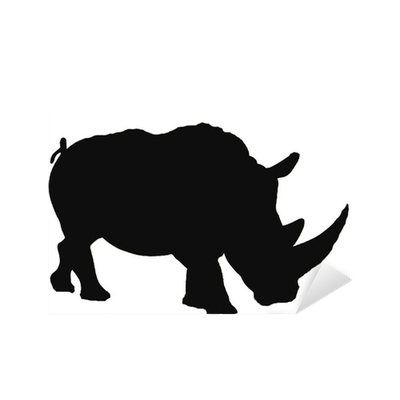 White rhino silhouette Sticker • Pixers® • We live to change
