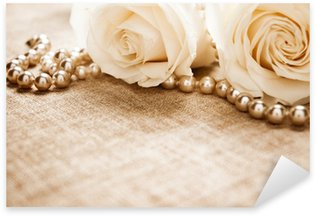 Sticker - Pixerstick White roses and pearls