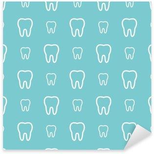 White teeth on blue background. Vector dental seamless pattern. Sticker - Pixerstick