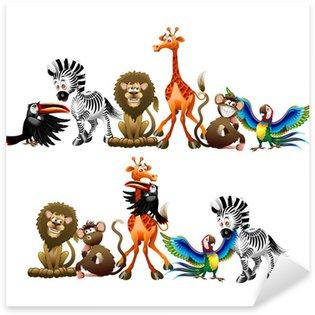 Sticker Pixerstick Wild Animals Cartoon-Animali Selvaggi Cartoon-Vector