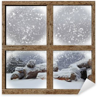 Sticker - Pixerstick Winter outdoors view with firewood pile from wooden window